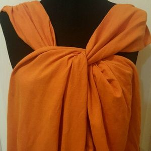 NWT Zara Twist-front Orange Sleeveless Top